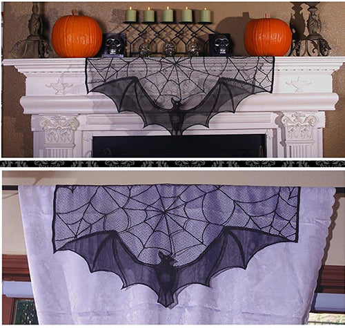 Bat Lace Curtain Topper