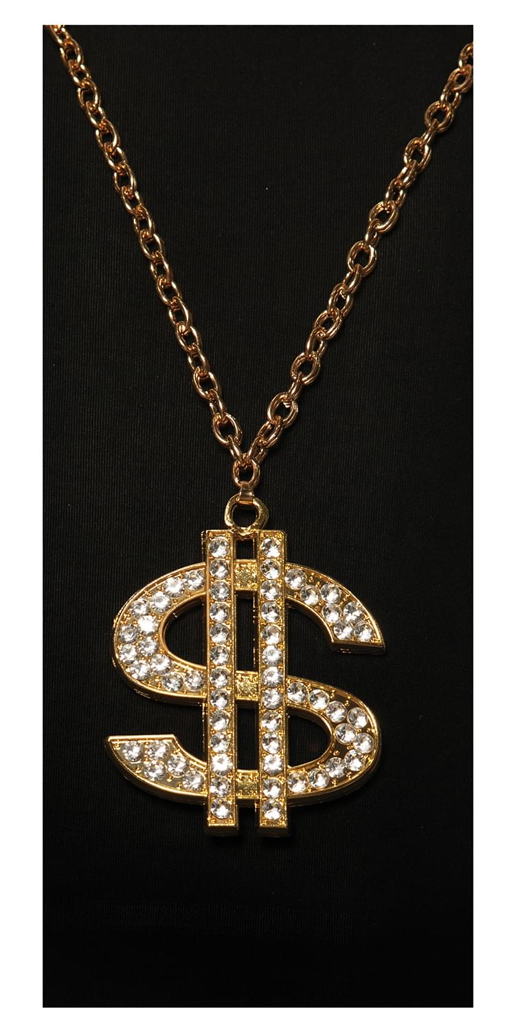 Gold Money $ Chain Necklace Costume Jewelry