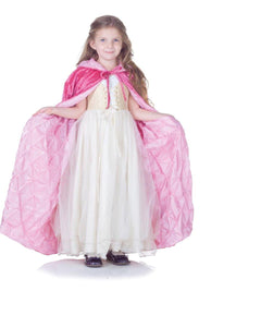 Dark Pink Panne Velvet Costume Cape Child: Light Pink Pintuck Lining