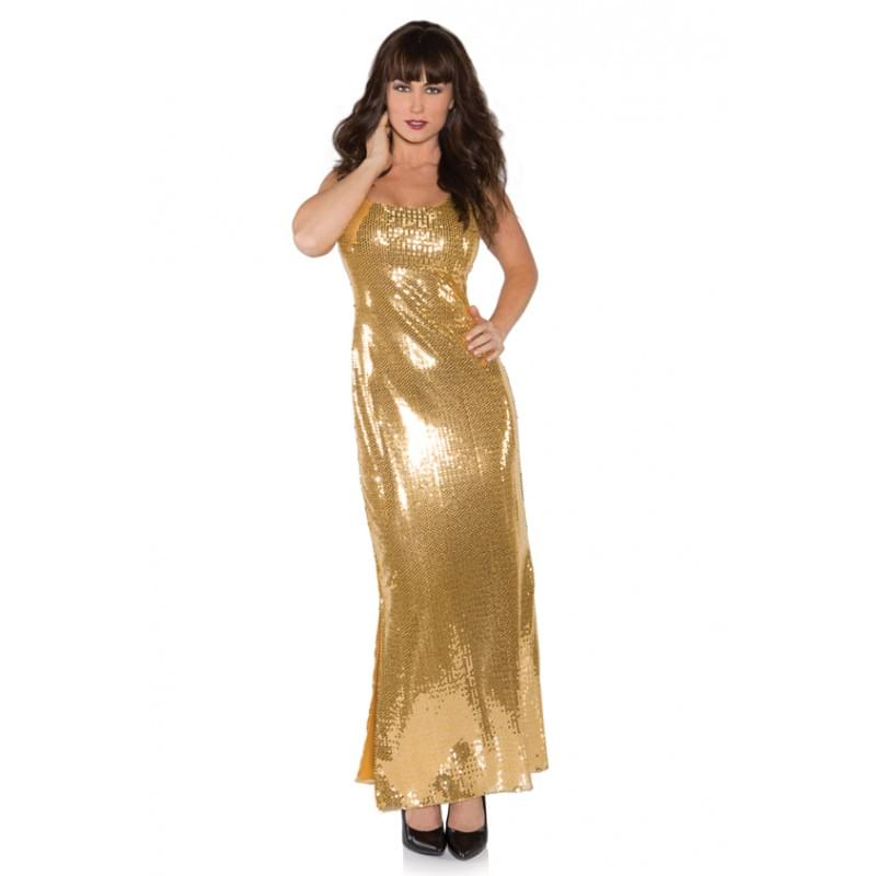 Gold Shimmer Long Sequin Dress Adult Costume Small