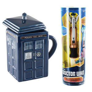 Doctor Who 12th Doctor's Sonic Screwdriver Replica & 17oz TARDIS Mug w/ Lid Bundle