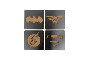 DC Comics Laser-Cut Superhero Logo Coaster Set | Batman | Superman | Wonder Woman | Flash