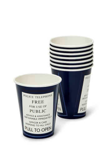 Doctor Who 9oz TARDIS Paper Cups, Set of 8