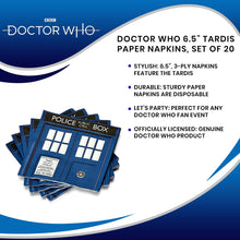 "Load image into Gallery viewer, Doctor Who 6.5"" TARDIS Paper Napkins, Set of 20"