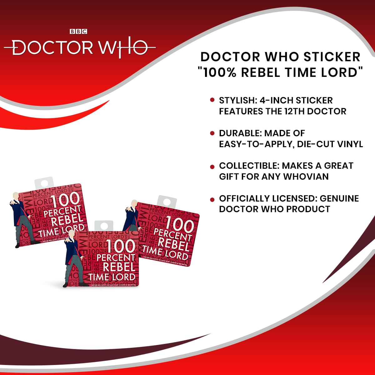"Doctor Who Sticker ""100% Rebel Time Lord"""