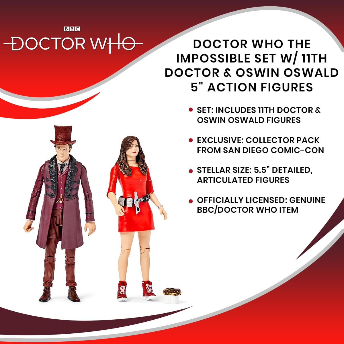 "Doctor Who The Impossible Set w/ 11th Doctor & Oswin Oswald 5"" Action Figures"