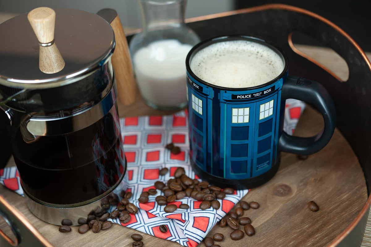 Doctor Who TARDIS 12oz Self-Stirring Coffee Mug | Automatic Mixing Travel Cup