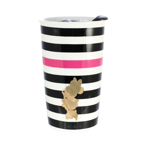 Disney Minnie Mouse Geo Glam Silouhette 10oz Ceramic Travel Mug with Lid