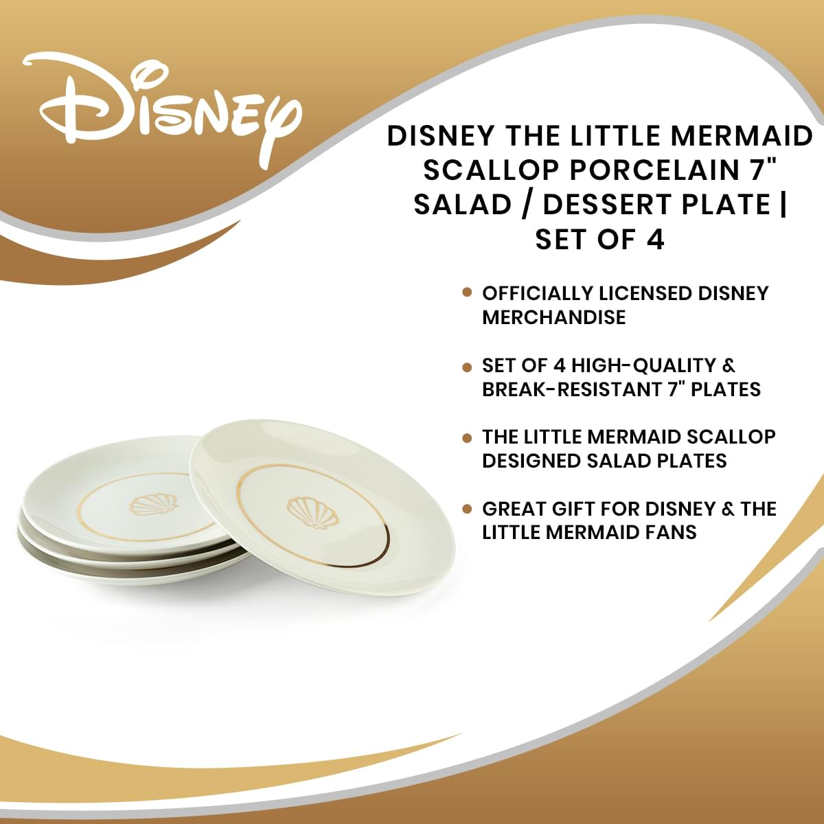 "Disney The Little Mermaid Scallop Porcelain 7"" Salad / Dessert Plate 