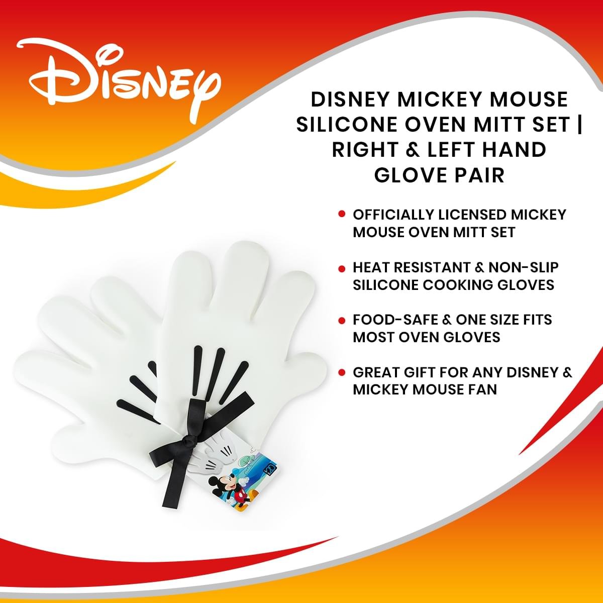 Disney Mickey Mouse Silicone Oven Mitt Set | Right & Left Hand Glove Pair