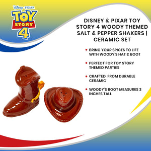 Disney & Pixar Toy Story 4 Woody Themed Salt & Pepper Shakers | Ceramic Set