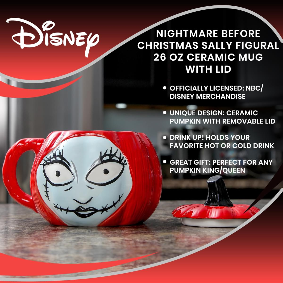 Nightmare Before Christmas Sally Figural 26 Oz Ceramic Mug With Lid