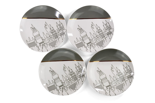 Harry Potter Hogwarts Castle White & Grey Ceramic Plate Collection | Set of 4