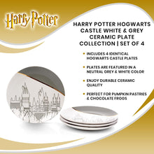 Load image into Gallery viewer, Harry Potter Hogwarts Castle White & Grey Ceramic Plate Collection | Set of 4
