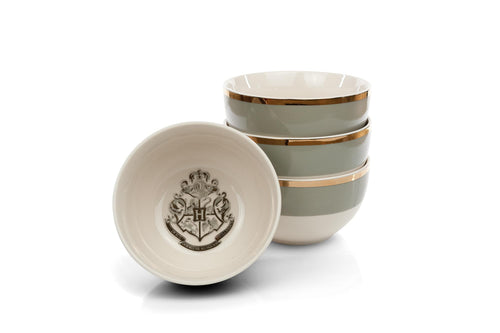 Harry Potter Hogwarts Emblem White & Grey Ceramic Bowl Collection | Set of 4