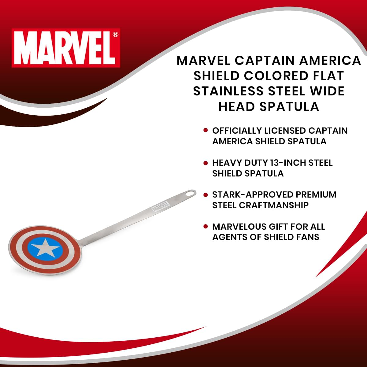Marvel Captain America Shield Colored Flat Stainless Steel Wide Head Spatula