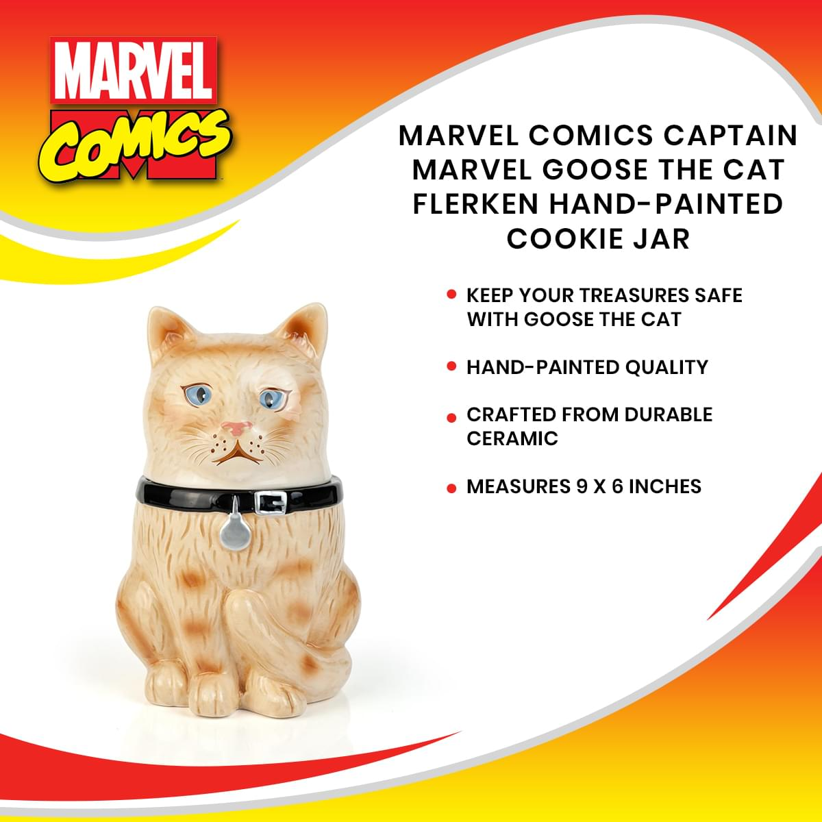 Marvel Comics Captain Marvel Goose The Cat Flerken Hand-Painted Cookie Jar