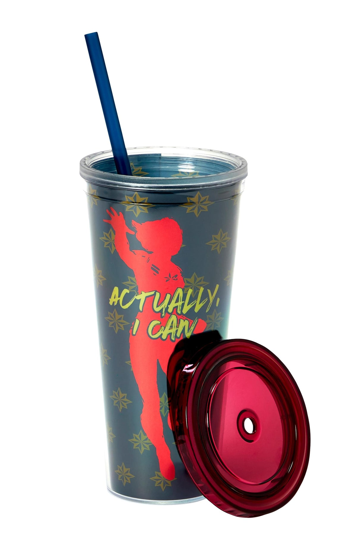 Marvel's Captain Marvel Actually I Can 16-Oz PVC Tumbler w/ Lid and Straw