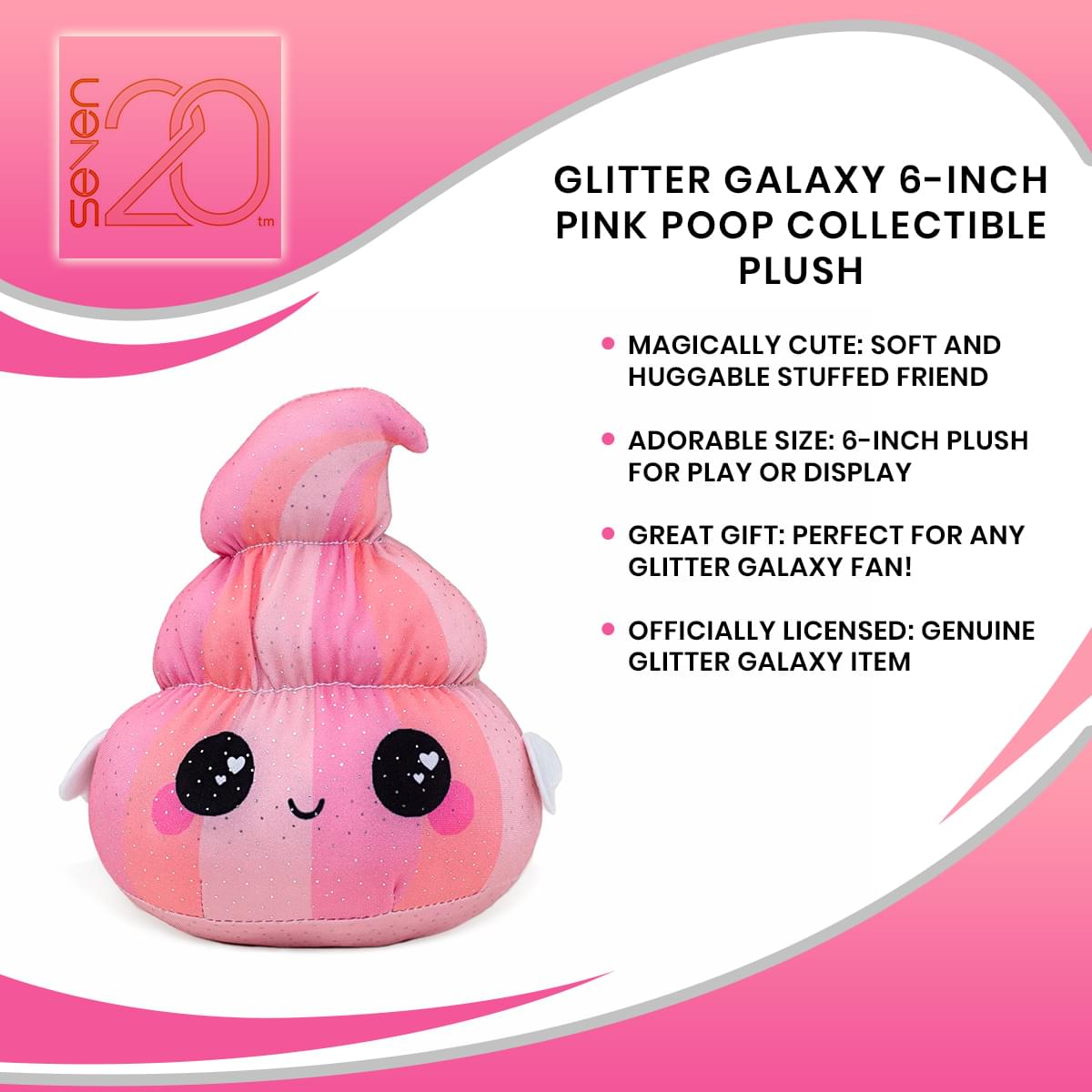 Glitter Galaxy 6-Inch Pink Poop Collectible Plush