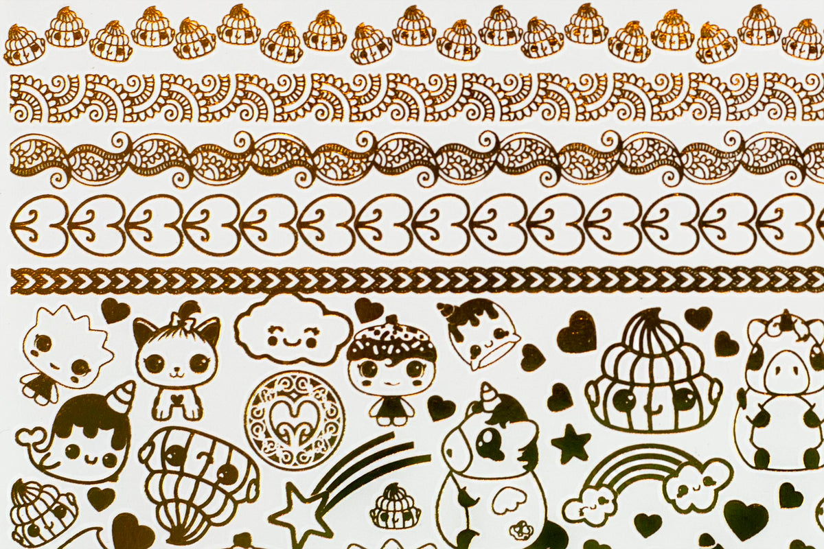 Glitter Galaxy Gold Shimmer Temporary Tattoo Sheet Wave 1