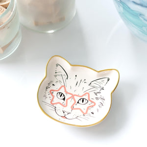 Cat Dish Plate | Small Ceramic Catchall Dish For Treats, Keys, Change, & More