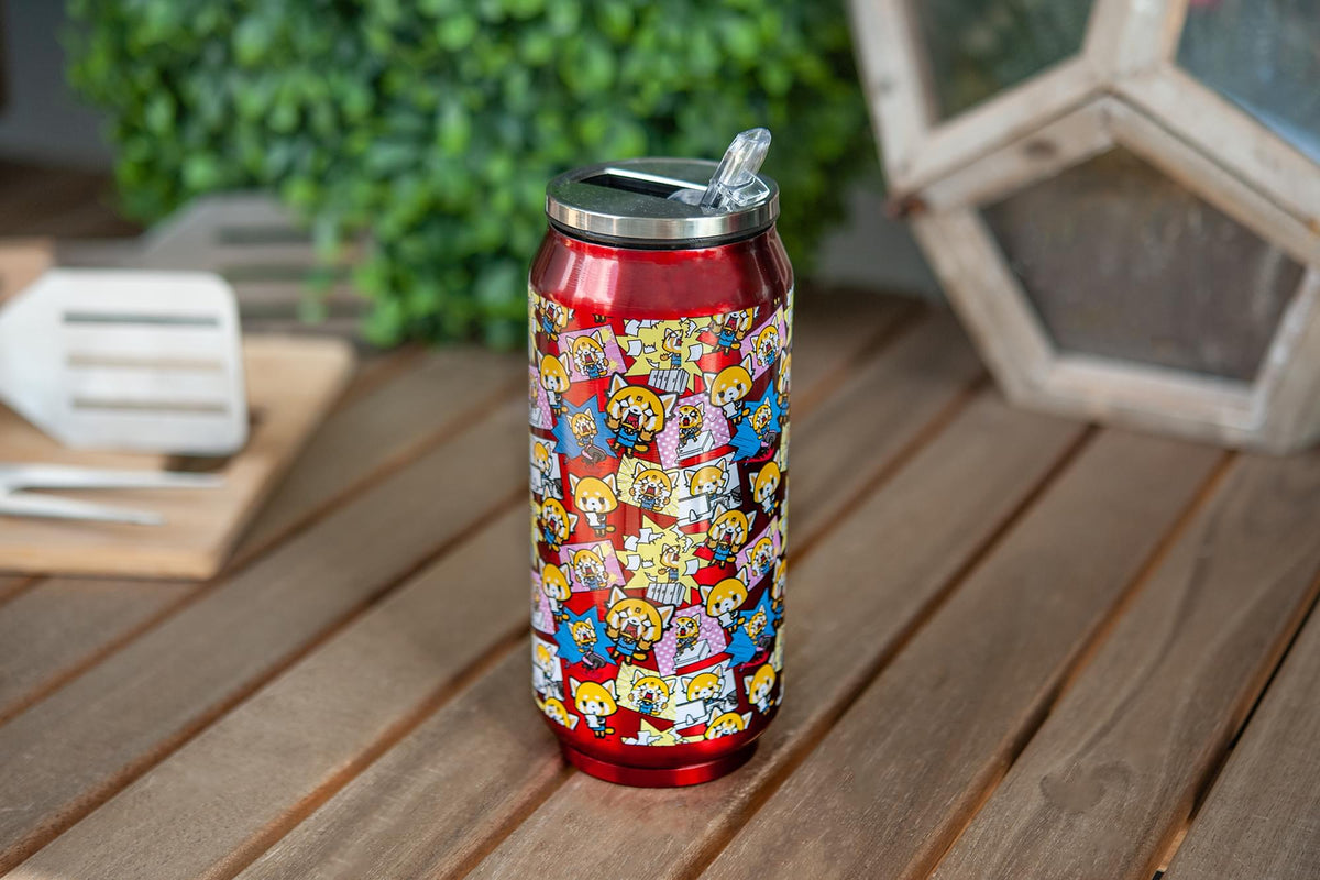 Aggretsuko Pink Power Stainless Steel Travel Can With Lid & Straw