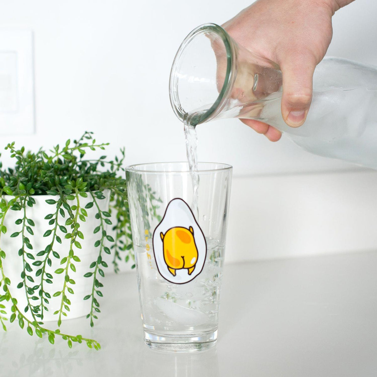OFFICIAL Gudetama Lazy Egg Glass | Feat. Gudetama Laying Face Down | 16 Oz. Cup