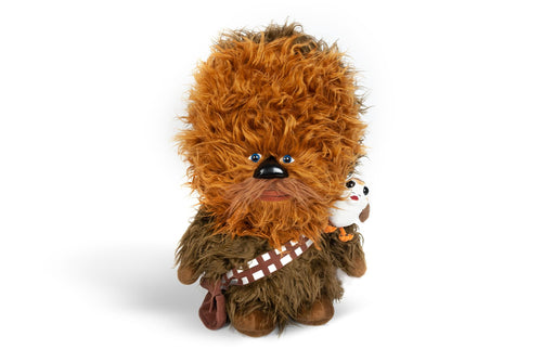 "Super-Deformed Star Wars 22"" Chewbacca with Porg Talking Plush"
