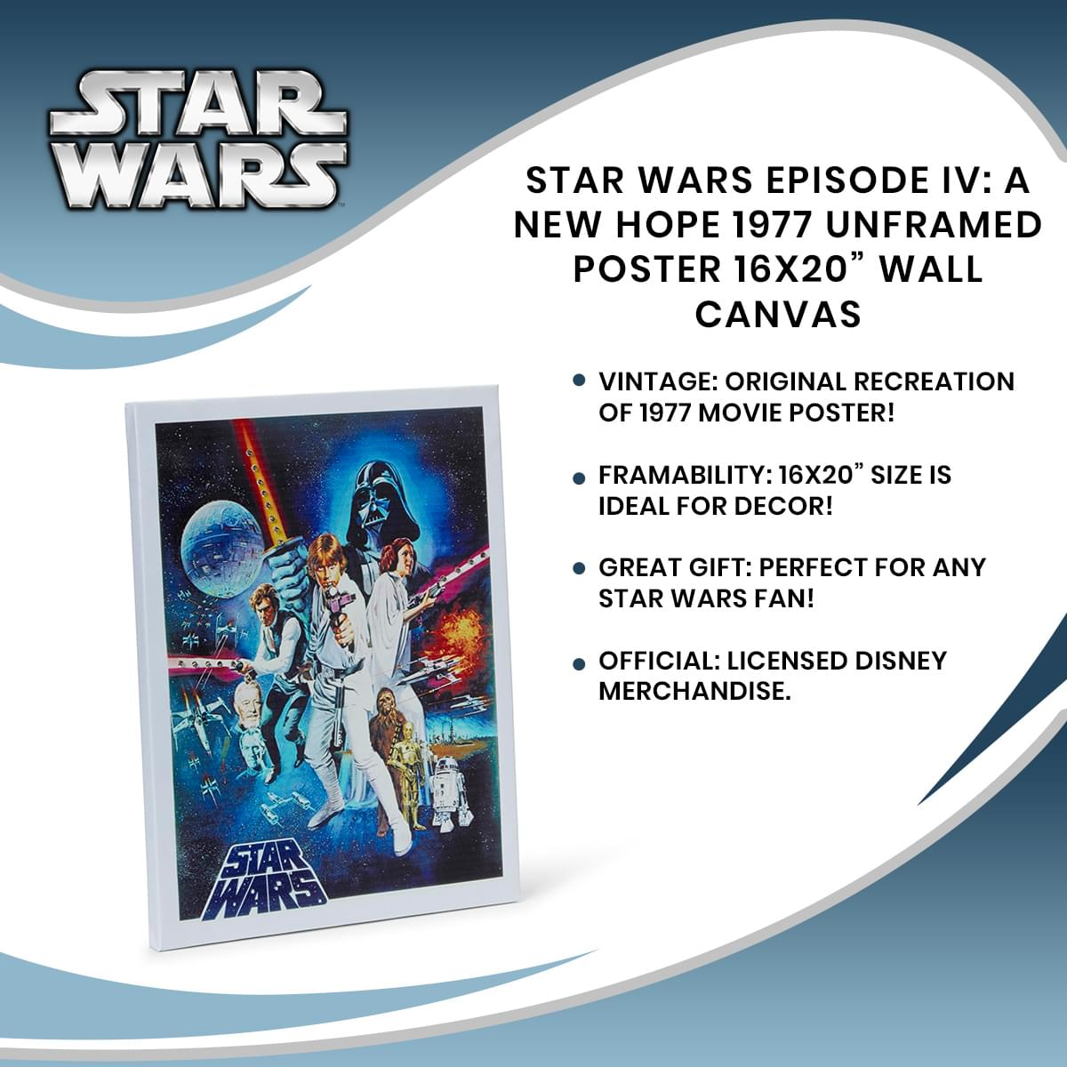 Star Wars Episode Iv A New Hope 1977 Unframed Poster 16x20 Wall Canv Toynk Toys