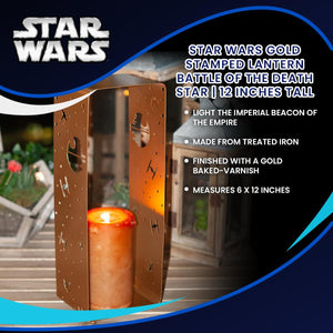 Star Wars Gold Stamped Lantern | Battle Of The Death Star | 12 Inches Tall
