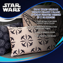 Load image into Gallery viewer, Star Wars Lumbar Throw Pillow | Black X-Wing Fighter Design | 15 x 24 Inches
