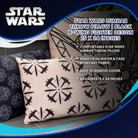 Star Wars Lumbar Throw Pillow | Black X-Wing Fighter Design | 15 x 24 Inches
