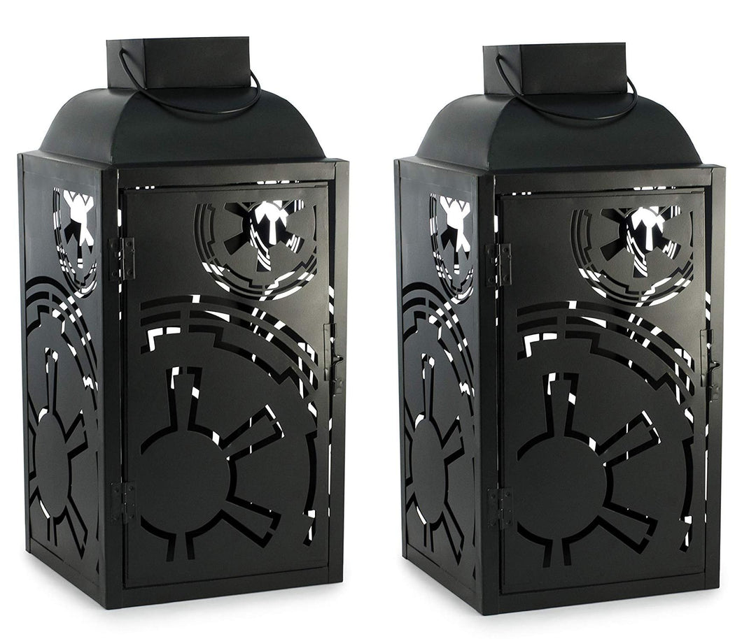 Star Wars Black Stamped Lantern | Imperial Symbol | 14 Inches | Set of 2