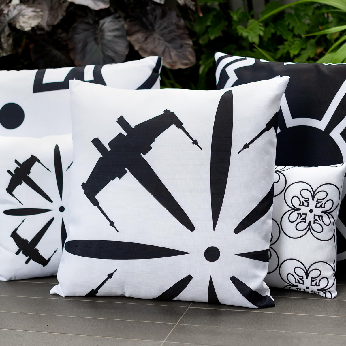 Star Wars White Throw Pillow | Black X-Wing Fighter Design | 25 x 25 Inches