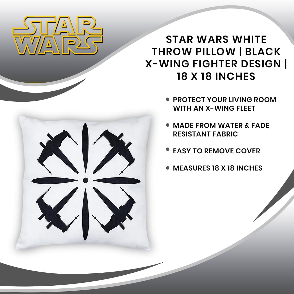 Star Wars White Throw Pillow | Black X-Wing Fighter Design | 18 x 18 Inches