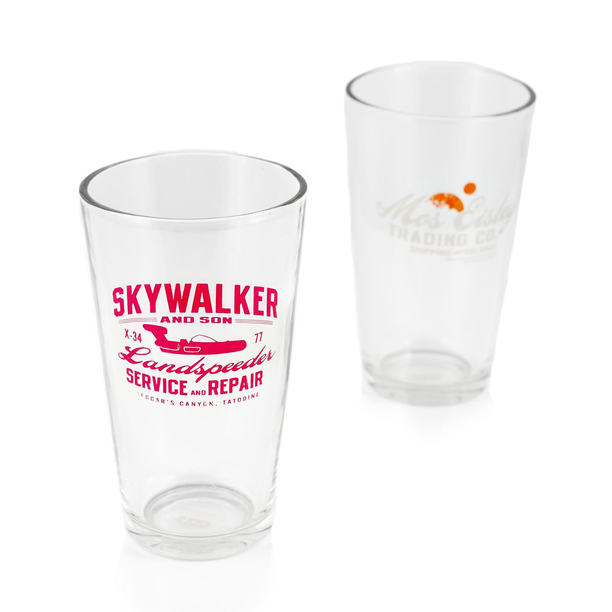 Star Wars 16 oz Pint Glass 2-Piece Set | Mos Eisley Co. | Skywalker & Sons Designs