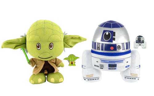 Star Wars Baby Yoda and R2-D2 Stylized 7 Inch Plush Set of 2 With Enamel Pins