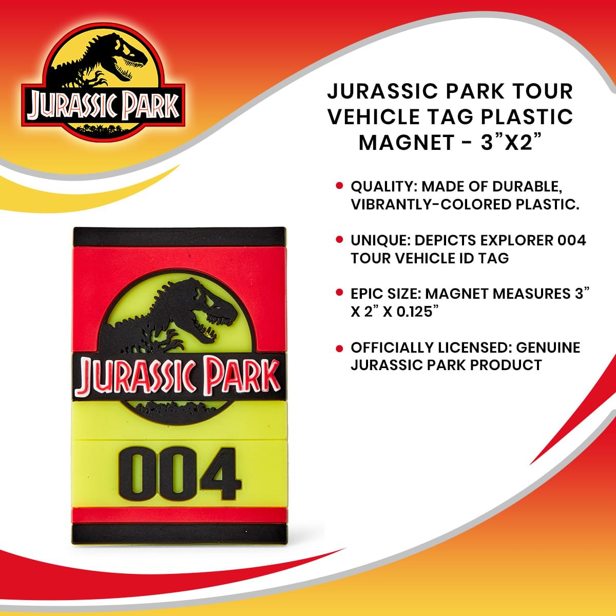 "Jurassic Park Tour Vehicle Tag Plastic Magnet - 3""x2"""