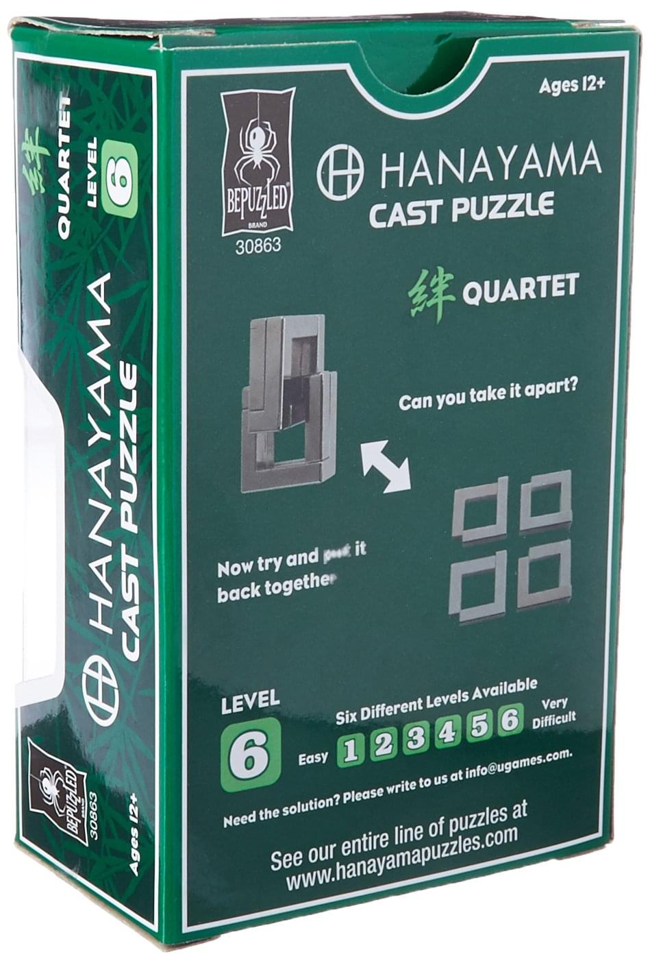Hanayama Level 6 Cast Metal Brain Teaser Puzzle - Quartet