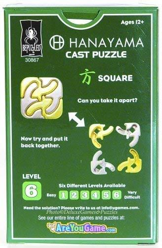 Hanayama Level 6 Cast Metal Brain Teaser Puzzle - Square