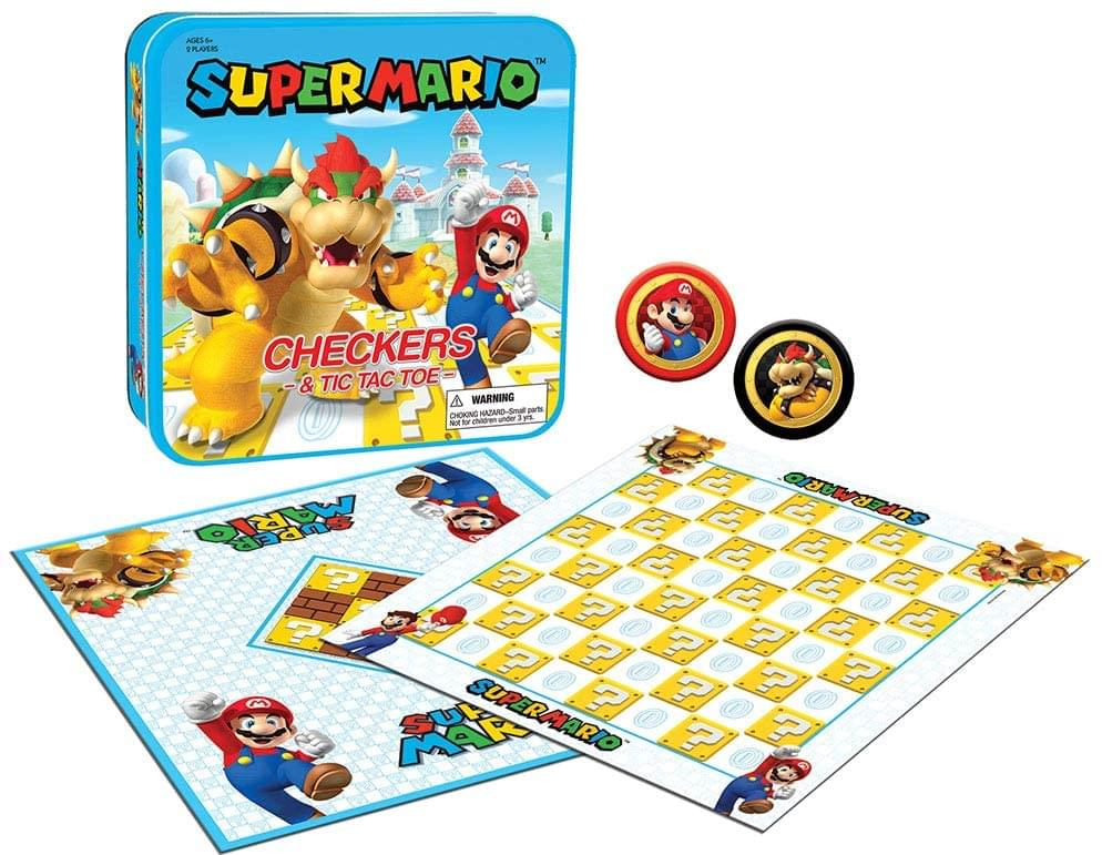 Super Mario Checkers & Tic-Tac-Toe Collector's Game Set