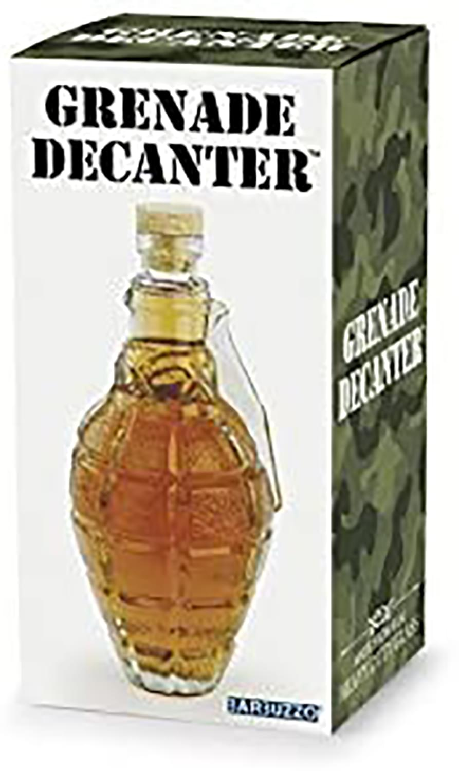 Hand Grenade 16oz Clear Glass Drink Decanter