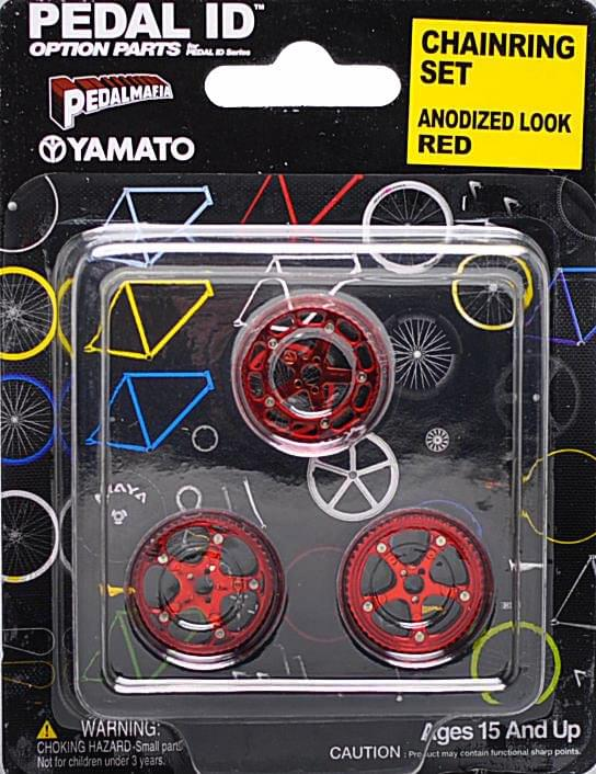 Pedal Id 1:9 Scale Bicycle: Chain Ring Set: Anodized Look Red