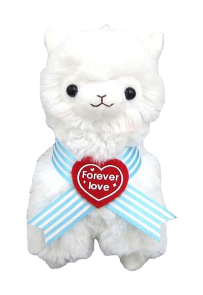 "Llama Sweet Heart Alpaca 7"" Plush Key Chain White"