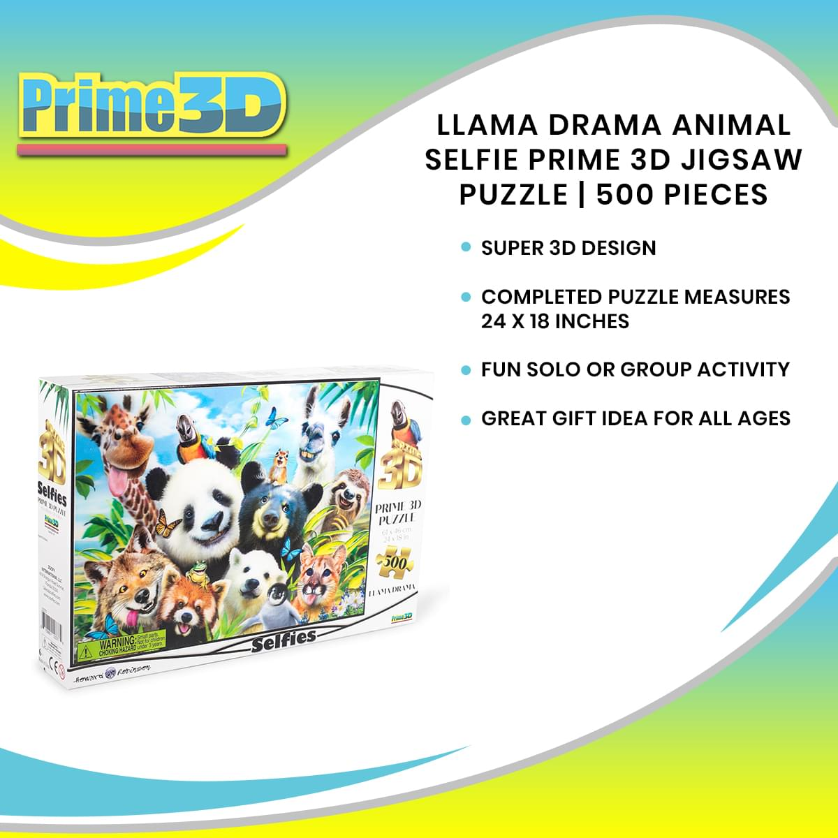 Llama Drama Selfie Super 3D 500 Piece Jigsaw Puzzle For Adults And Kids