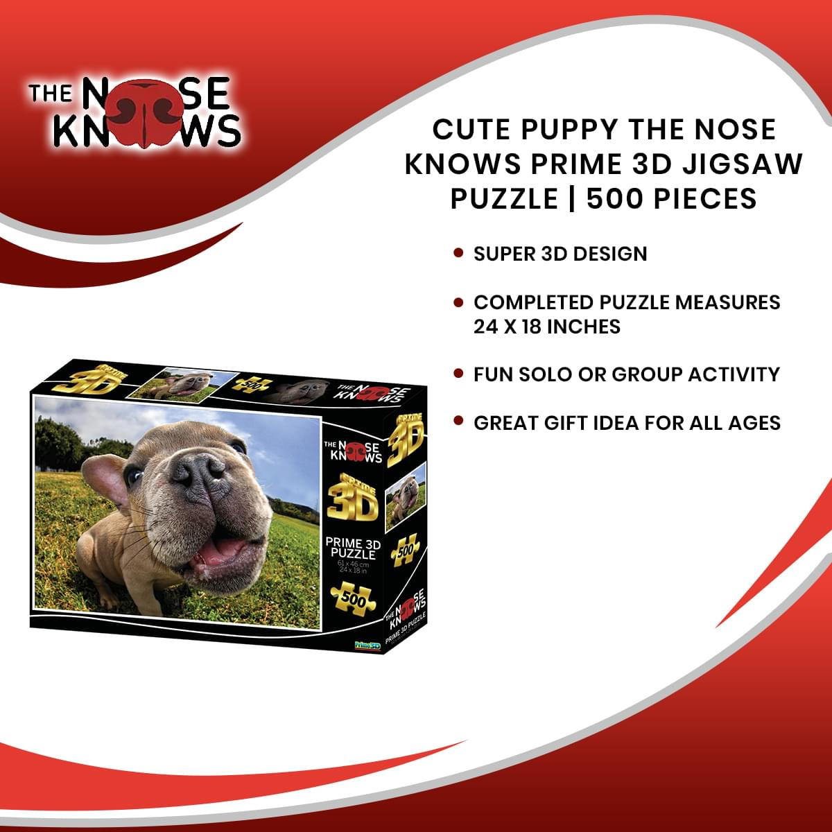 Cute Puppy The Nose Knows Prime 3D Jigsaw Puzzle | 500 Pieces