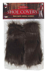Brown Hairy Monster Shoe Covers Adult Costume Accessory