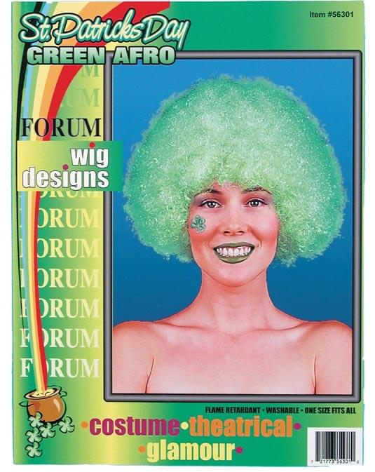St Patricks Day Green Afro Costume Wig