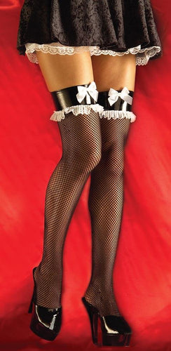 French Maid Fishnet Costume Thigh High