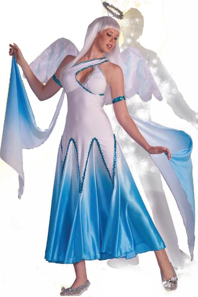 Haunted Ballroom Blue & White Angel Dress Costume Adult Medium/Large